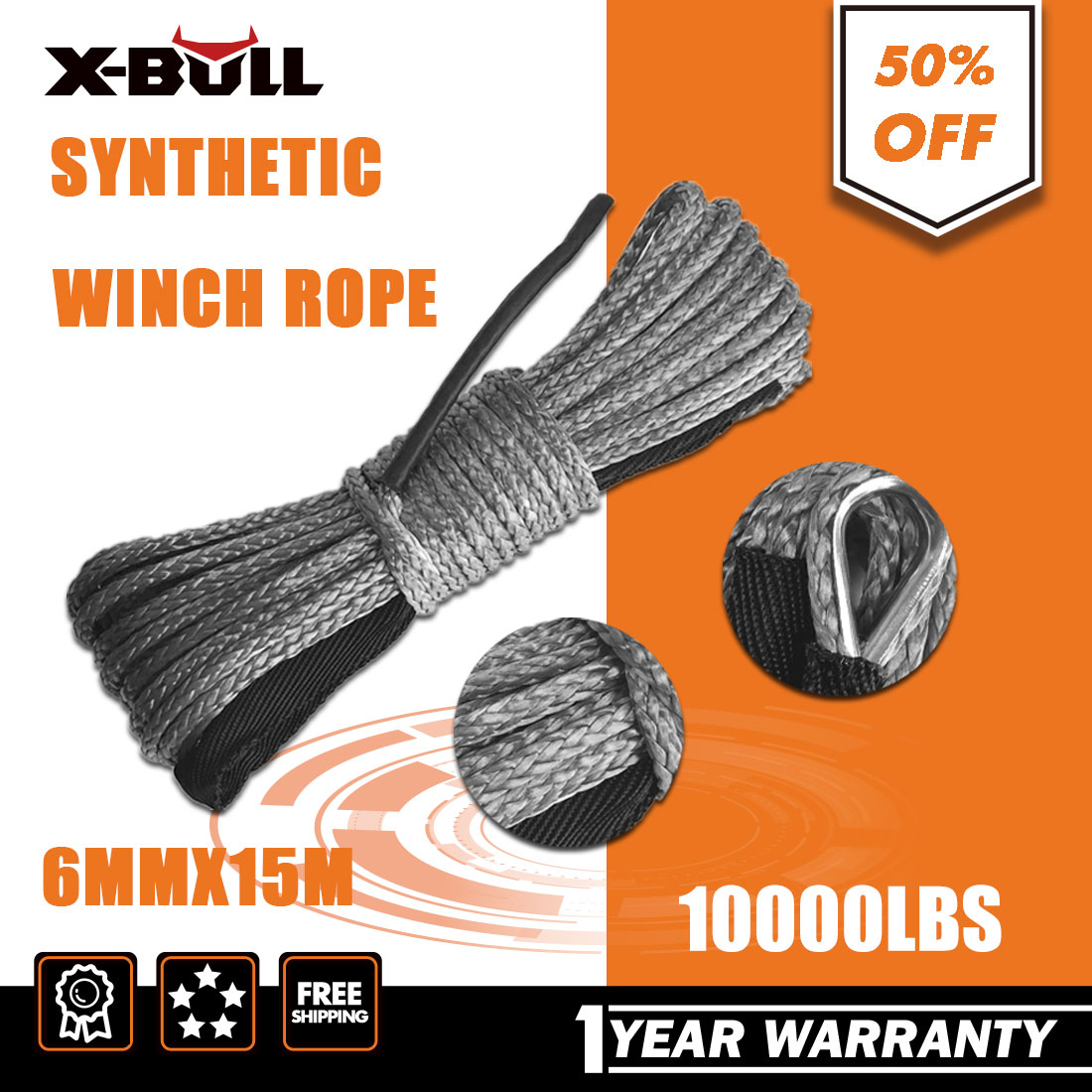 X-BULL Winch Synthetic Rope Line Recovery Cable Grey 1//4/'/'x50/' 10000LBS 4WD