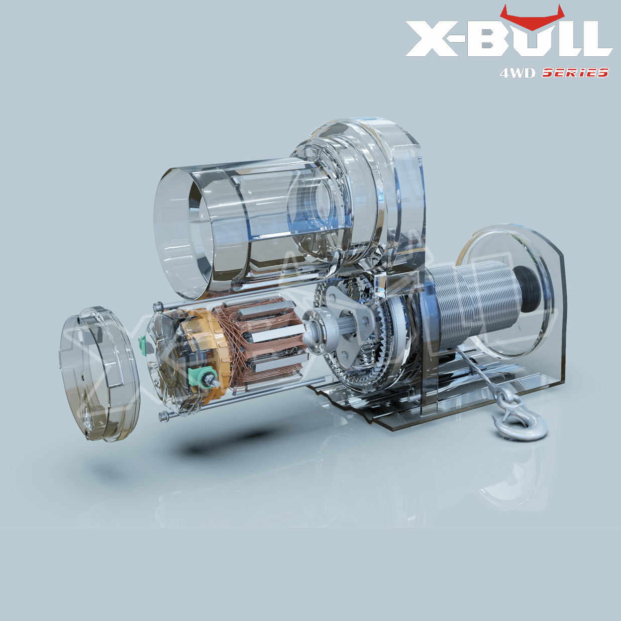 X-BULL 3000LBS /1361KGS Electric Winch Synthetic Rope 12V 10M Wireless ATV 4WD 4