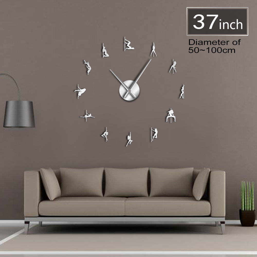 Pole Dance Frameless 3D DIY Moder Design Wall Clock ...