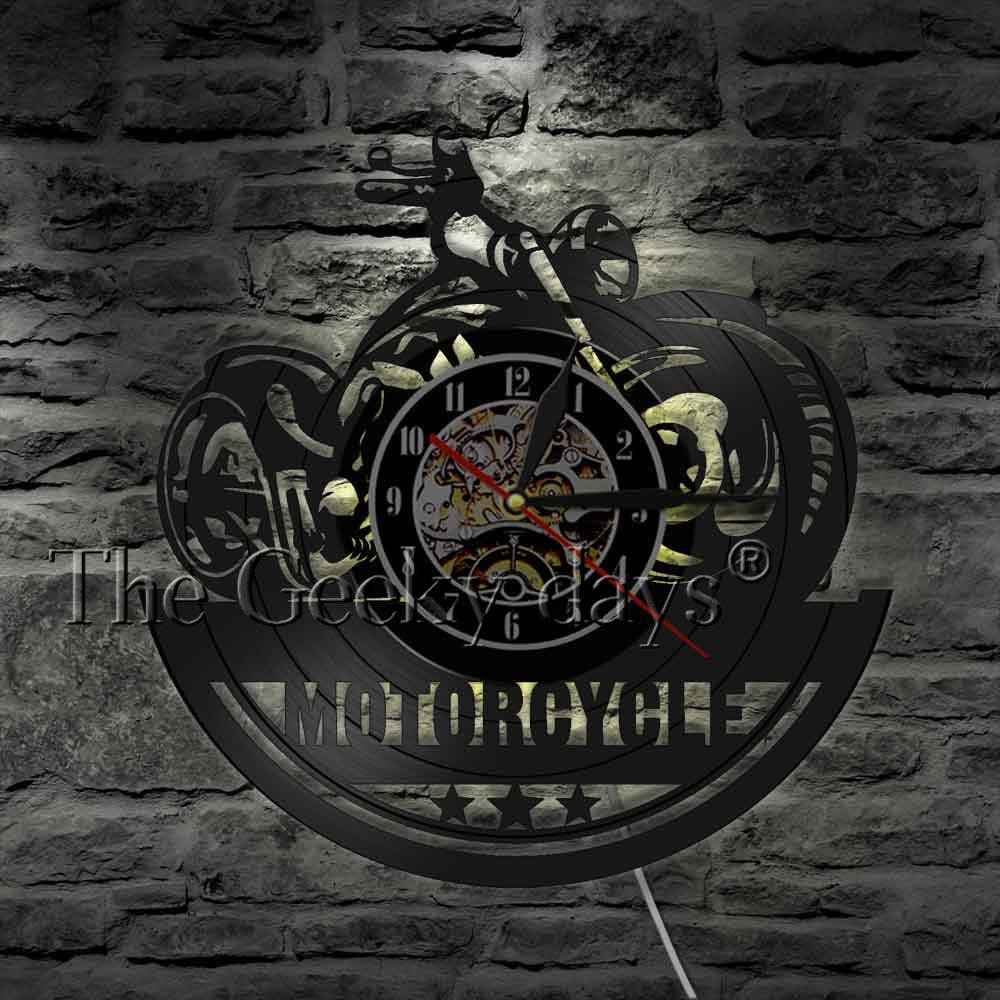 American Classic Motorcycle Wall Clock Garage Sign