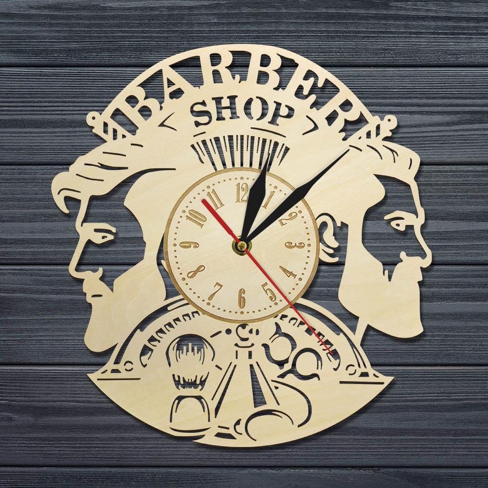Barber Shop Wood Wall Clock Hairdresser Logo Hair Salon Cutter Vintage Watch 5