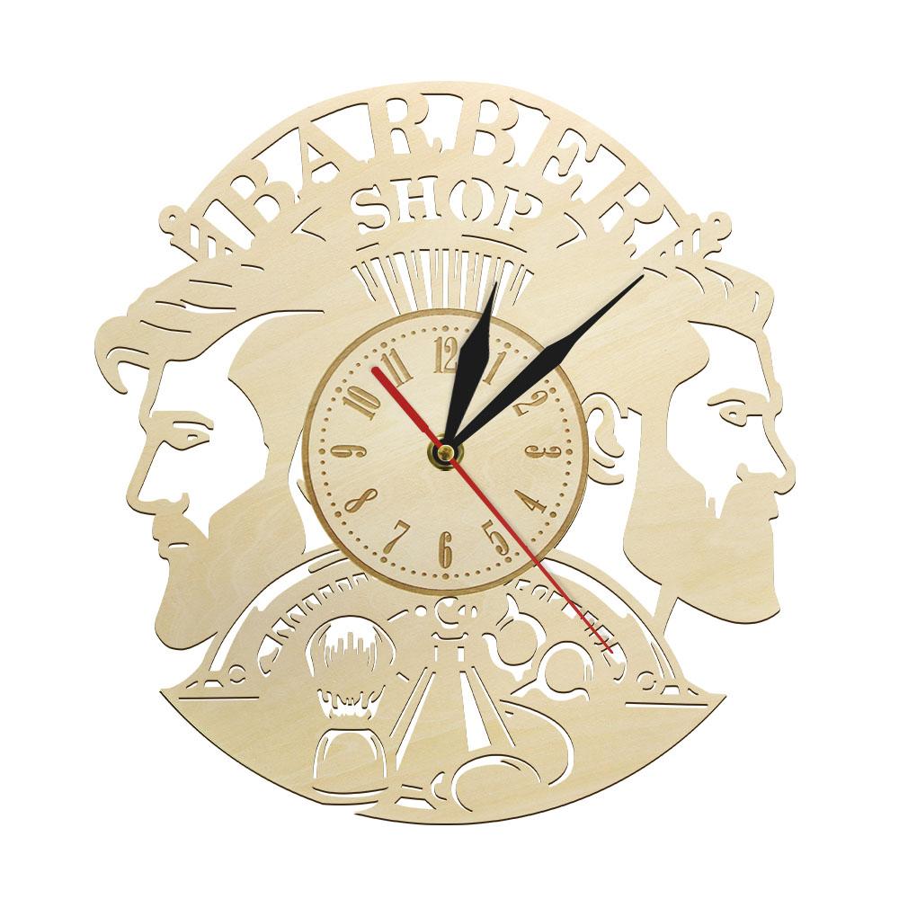 Barber Shop Wood Wall Clock Hairdresser Logo Hair Salon Cutter Vintage Watch