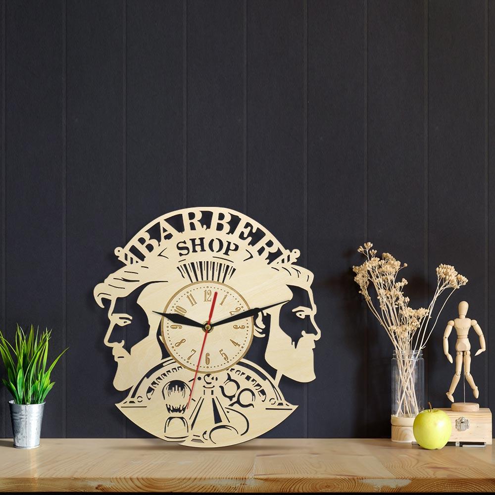Barber Shop Wood Wall Clock Hairdresser Logo Hair Salon Cutter Vintage Watch 9