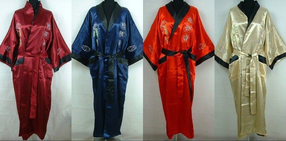 Double-Face Chinese Dragon Silk Men/'s Kimono Robe Gown Bathrobe Robes Dark blue