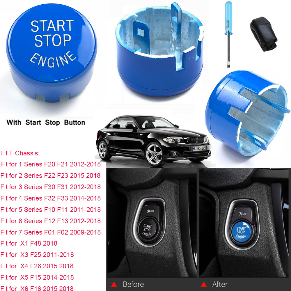 Blue Engine Start Button Switch With Stop Replacement Kit for BMW F Series 09-18
