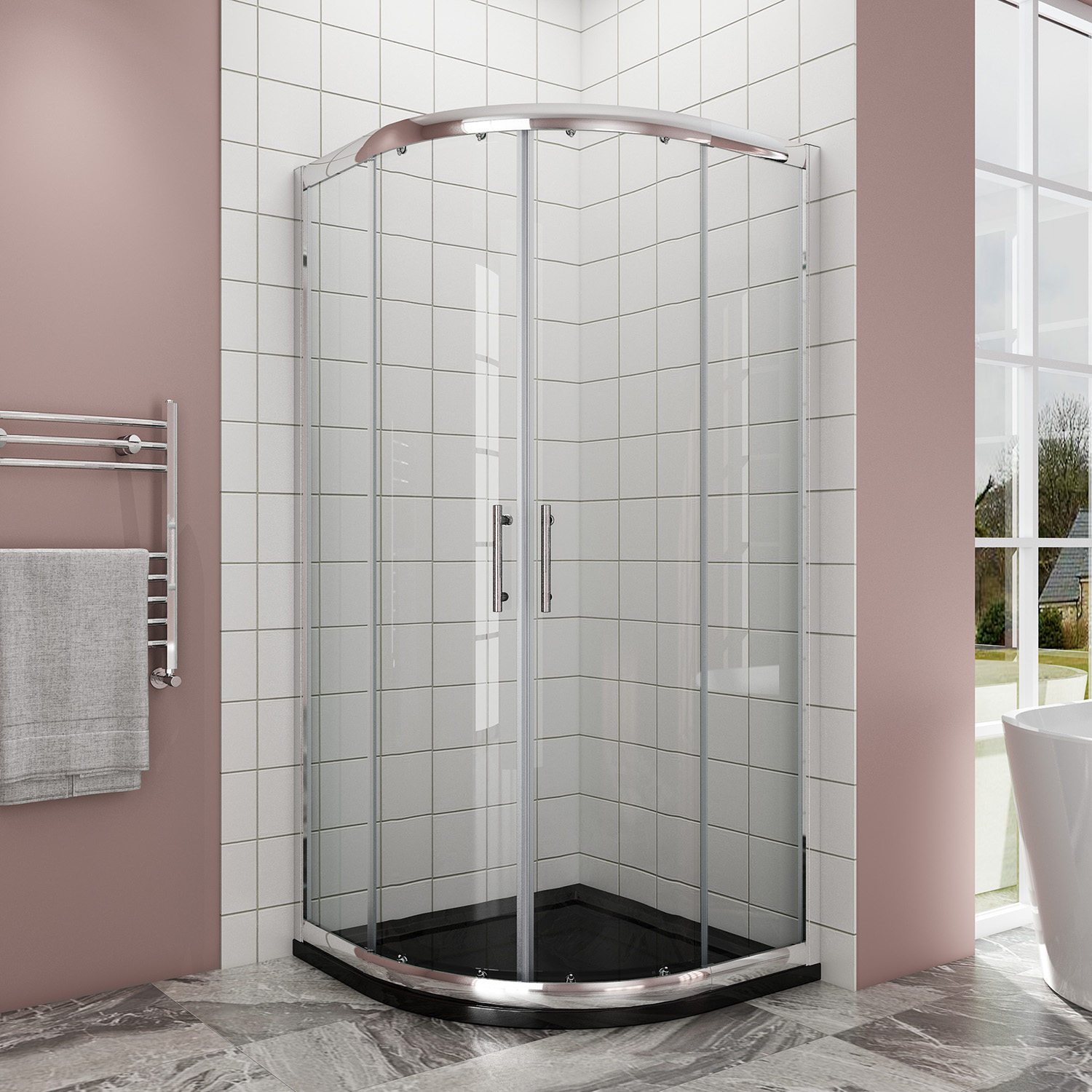 Quadrant Shower Enclosure And Tray Walk In Corner Cubicle