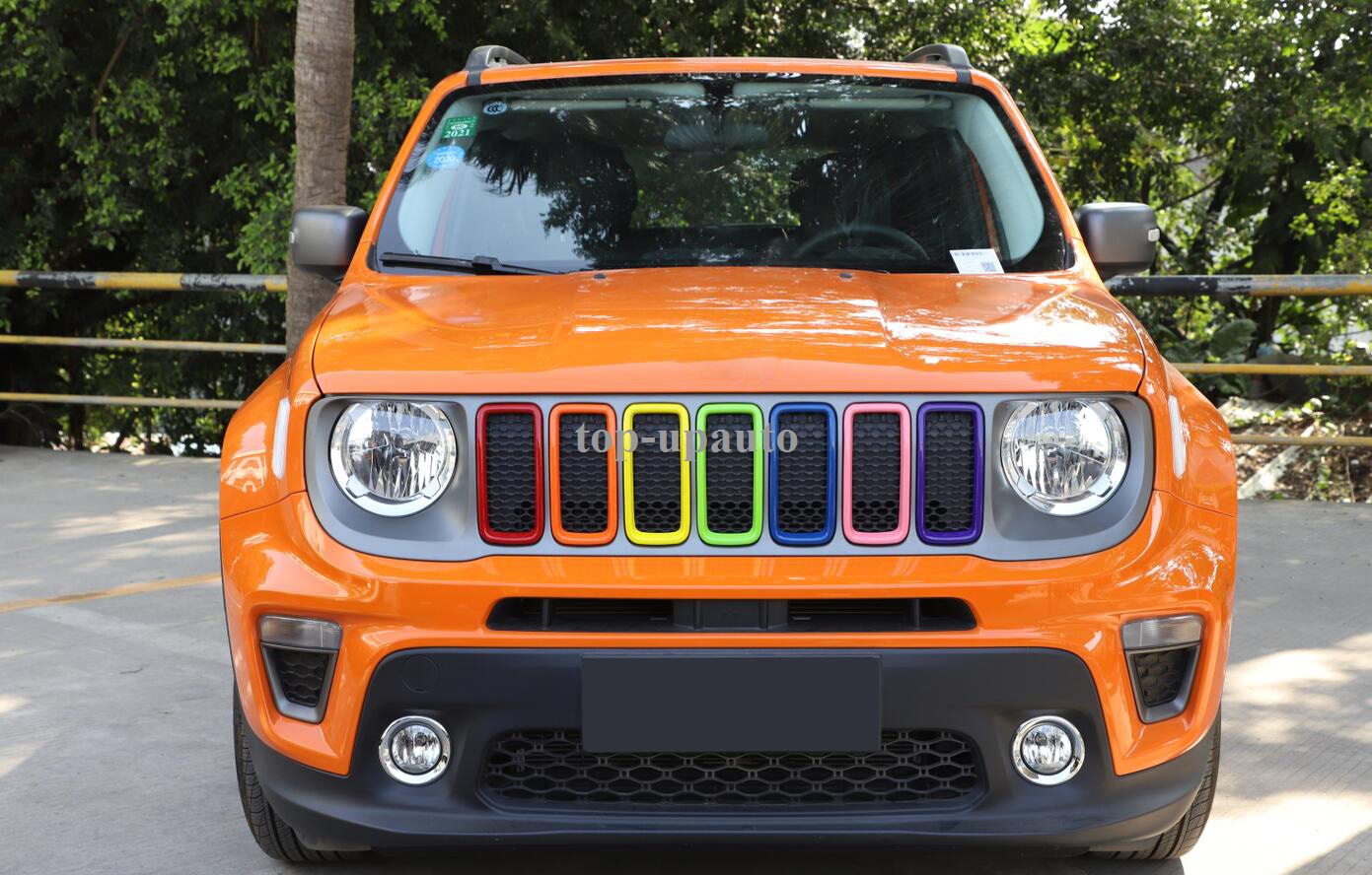 Details About Abs Seven Color Front Grille Decoration Circle 7pcs For Jeep Renegade 2019 2020
