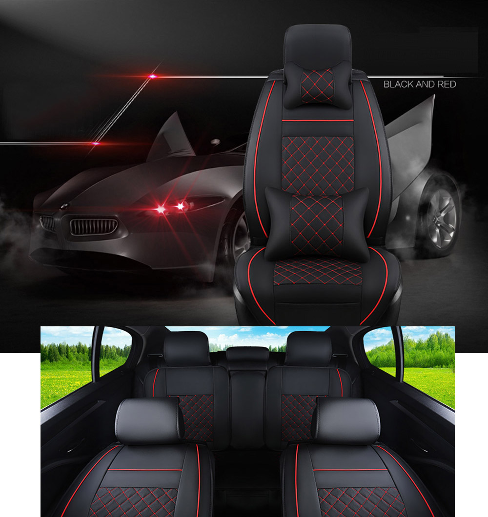 PU Leather Car Seat Covers Full Set W//Pillow Deluxe Black/&Red For Honda Toyota