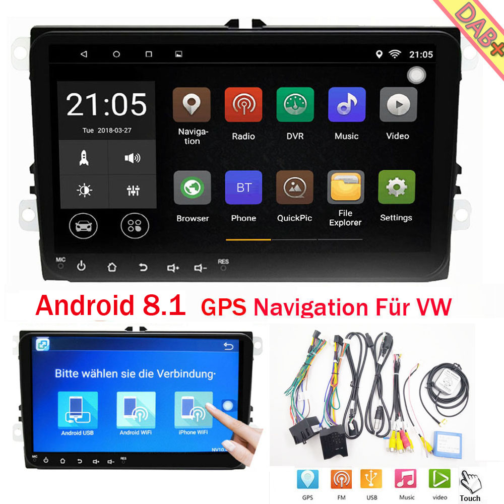 9 android8 1 gps navi autoradio dab bt usb f r vw touran. Black Bedroom Furniture Sets. Home Design Ideas