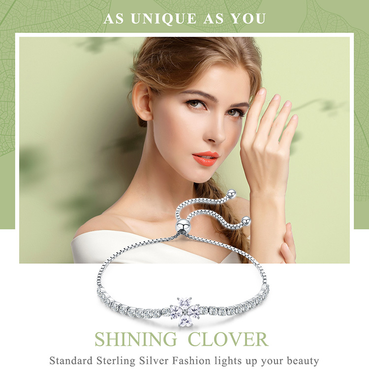 Details about BAMOER 100% Sterling Silver Bracelet Shining Leaves With CZ  For Women Jewelry