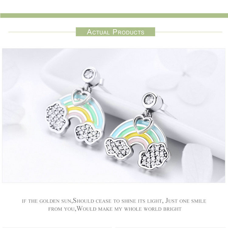 9570a14a4 Wostu Sterling Silver Rainbow Drop Dangle Earrings With CZ Ear Stud For  Girls