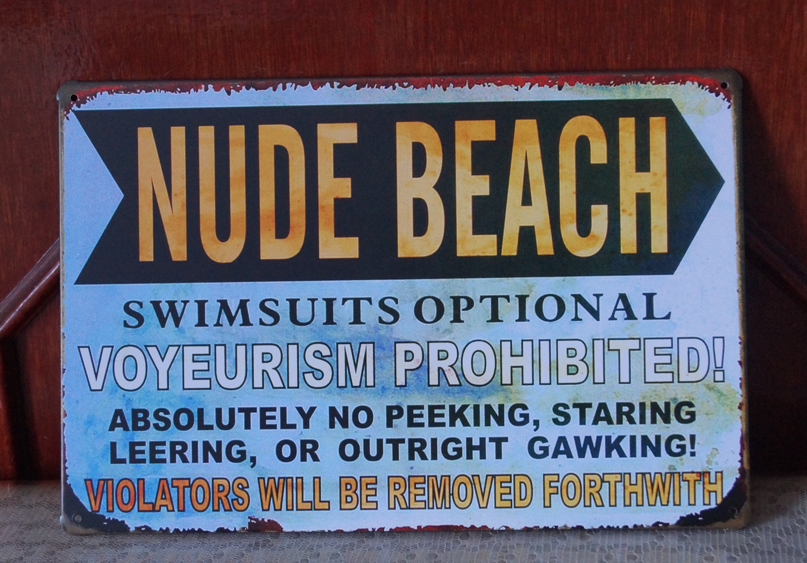 NUDE BEACH Letter Vintage Metal Tin Signs Pub Bar Wall Decor Plaque ...