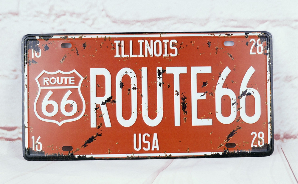 WALL HANGING LICENSE PLATE ROUTE 66 Vintage Metal Signs