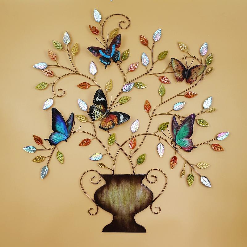 Vintage Metal Sign Flower Butterfly Sculpture Antique Plaque Home ...