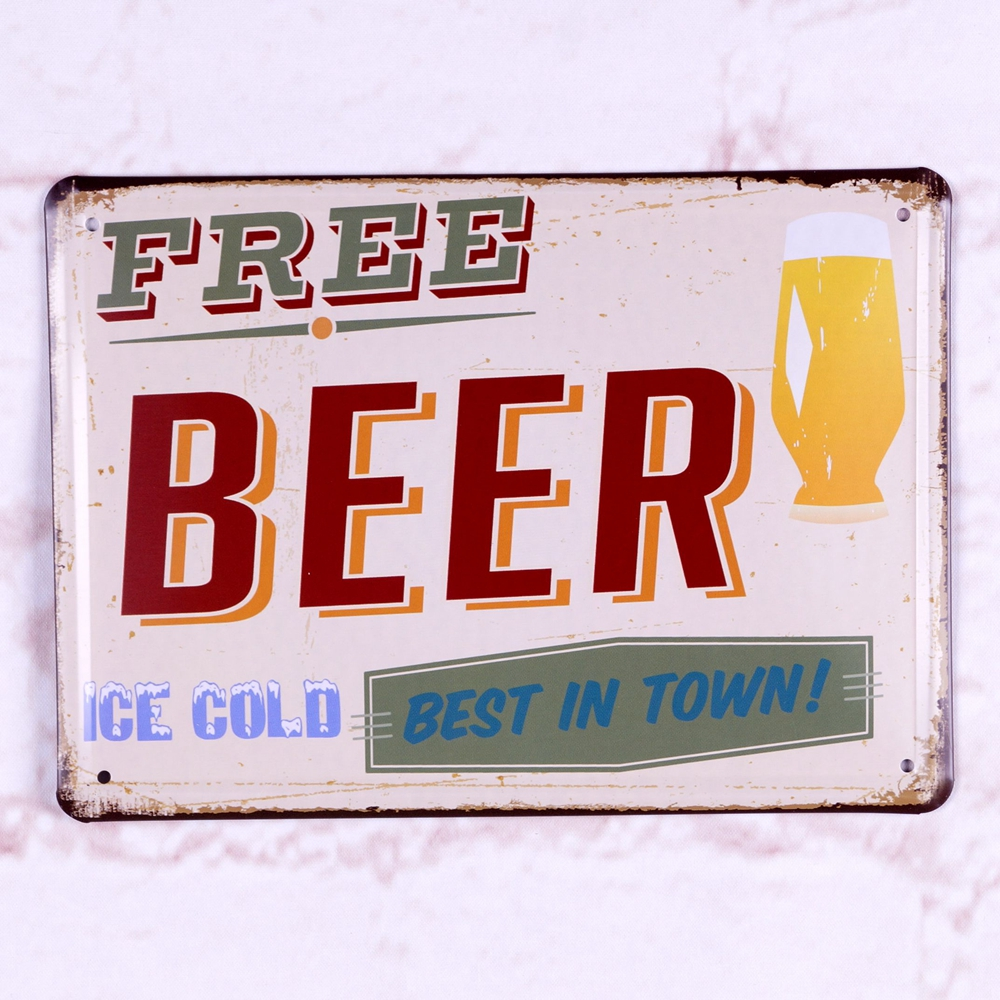 Metal Tin Sign Free Beer Ice Cold Best In Town Retro Pub Bar Wall Decor