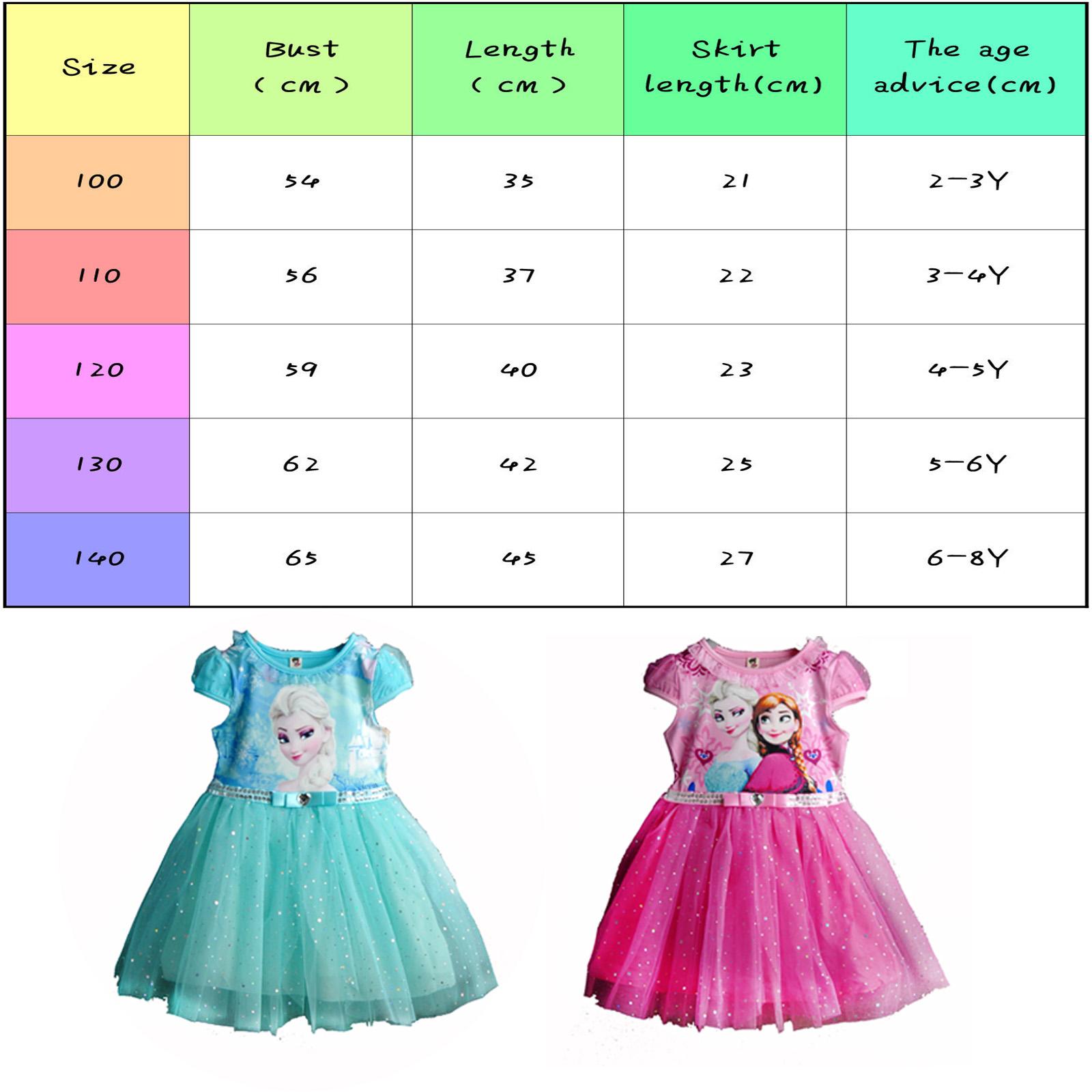 Baby Girls Disney Frozen Princess Elsa Anna Tutu Dress Party Fancy Costumes 2 8Y