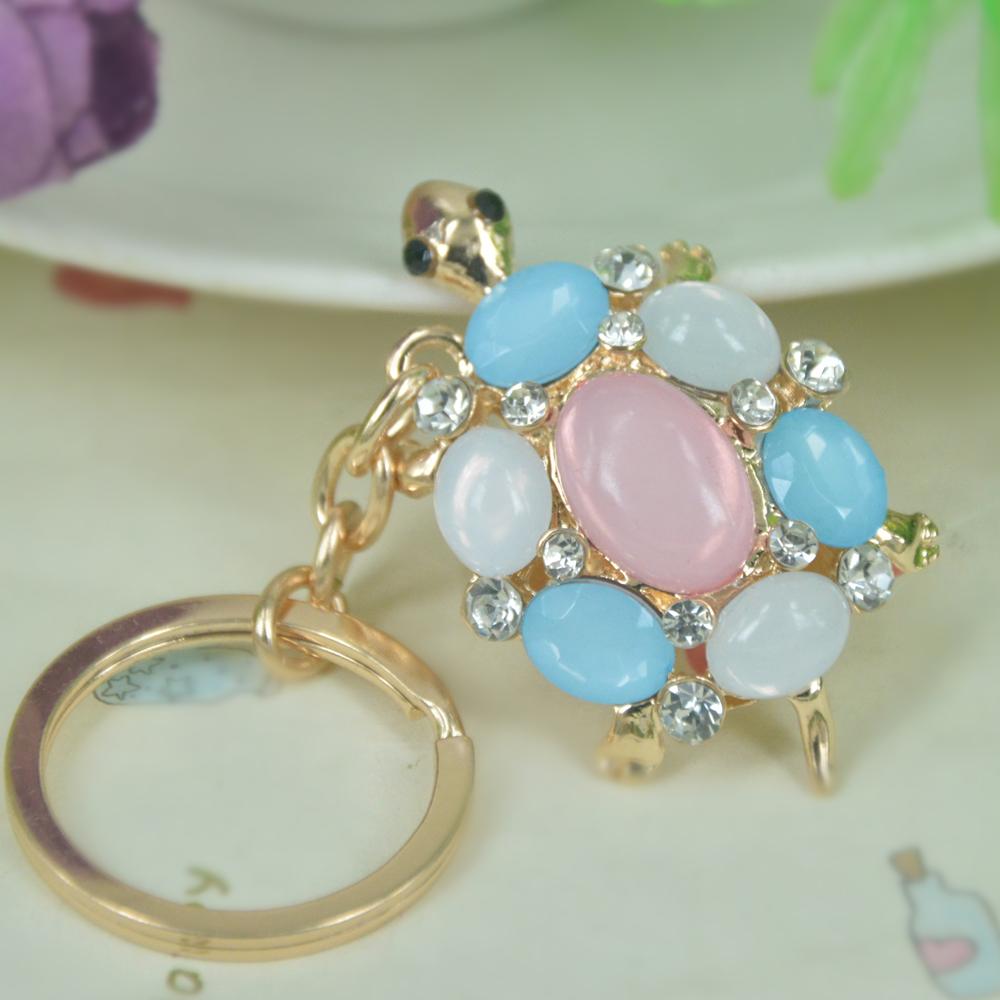 Opal Turtle Keyring Rhinestone Crystal Charm Pendant Handbag Key Bag Chain Gift