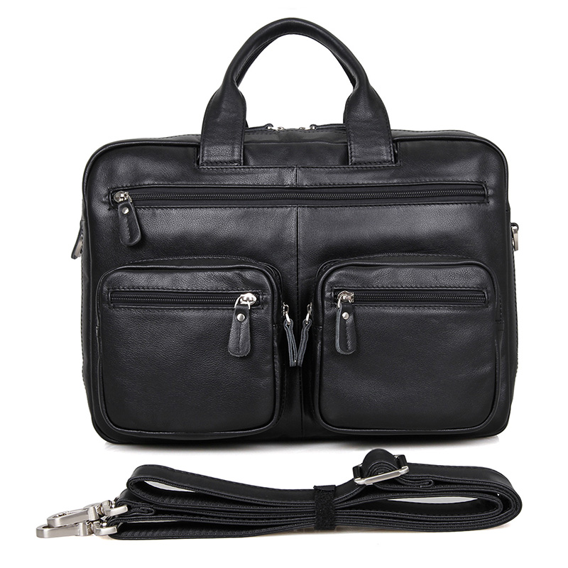 72a463d6f025 Details about Mens Black Leather Laptop Messenger Bag 15 Inch Top-Zip  Briefcase For Business