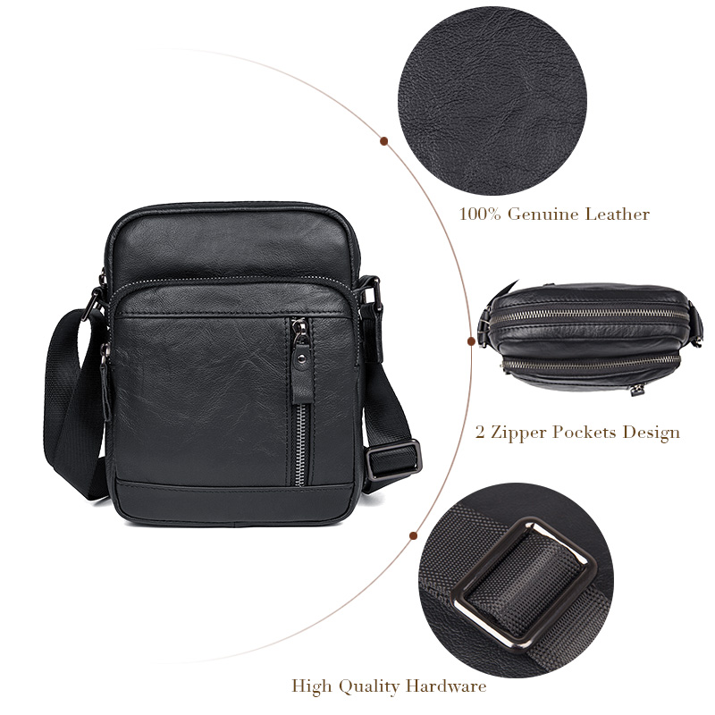 5e40e56bc3b4 J.M.D Mens Real Leather Small Messenger Best Side Bag Crossbody Tote Bag  Black