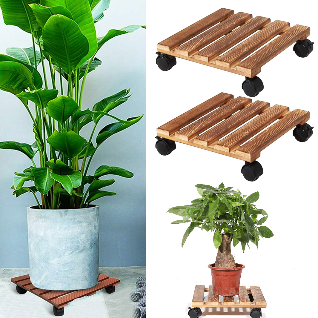 CuffUp Plant Caddy Wood Rolling Outdoor Plant Stand with Lockable Wheels Planter Stand for Indoor Plants 2PCS