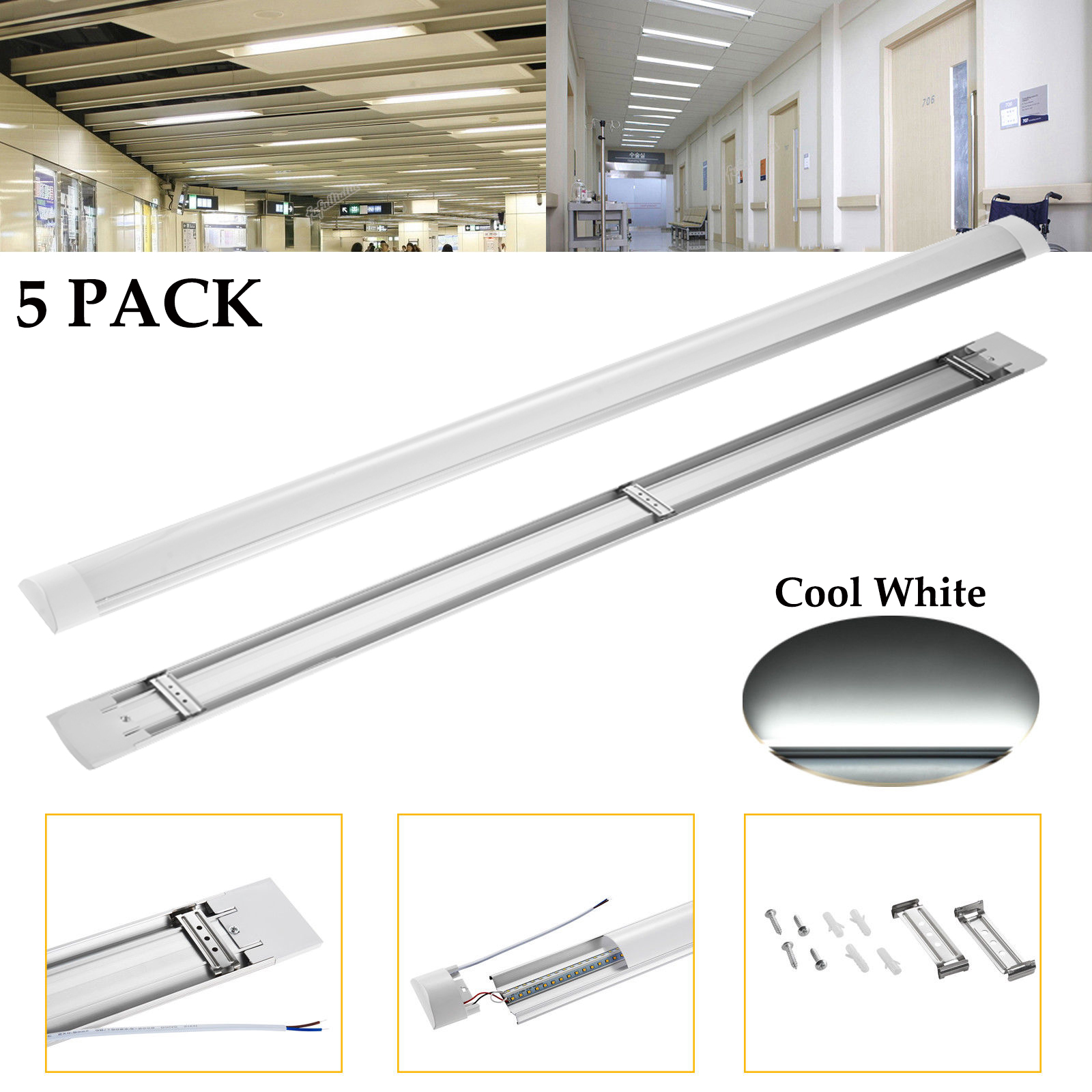 Details About 5x 4ft 40w Led Linear Batten Tube Light Surface Mounted Lamp Fixtures Cool White