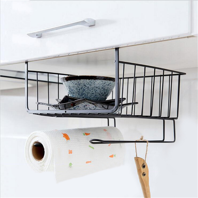 Kitchen Hanging Cabinet: Under Shelf Cabinet Hanging Wire Basket Rack Kitchen