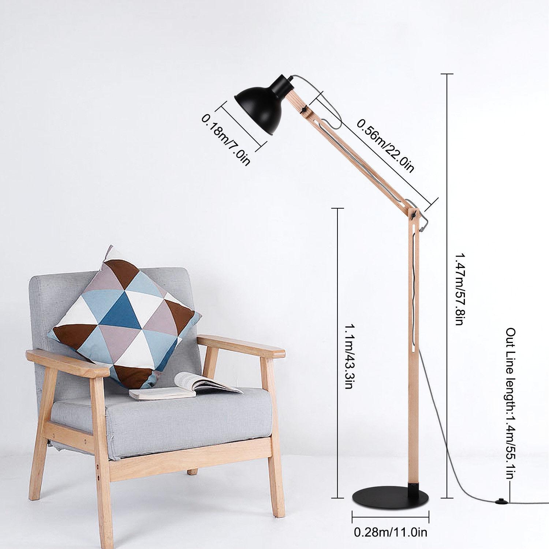 exquisite tripod stehlampe leseleuchte tischlampe fluter mit e27 bulb massivholz ebay. Black Bedroom Furniture Sets. Home Design Ideas