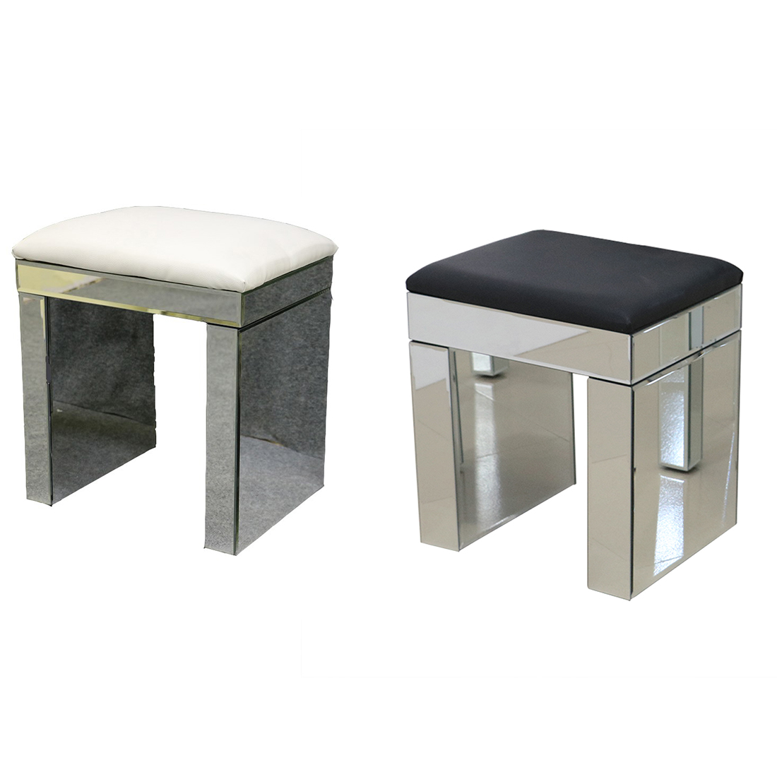 White Mirrored Glass Dressing Table Stool Furniture