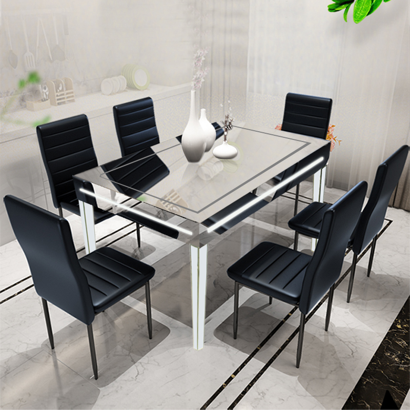 Mirrored Dining Room Table: Mirrored LED High-end Dining Table Silver White Furniture