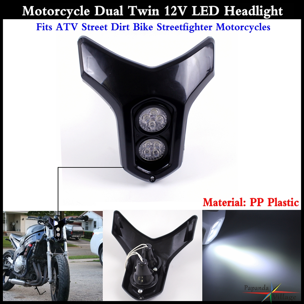 Black Dual Twin Led Headlight Fits Atv Dirt Bike -2148