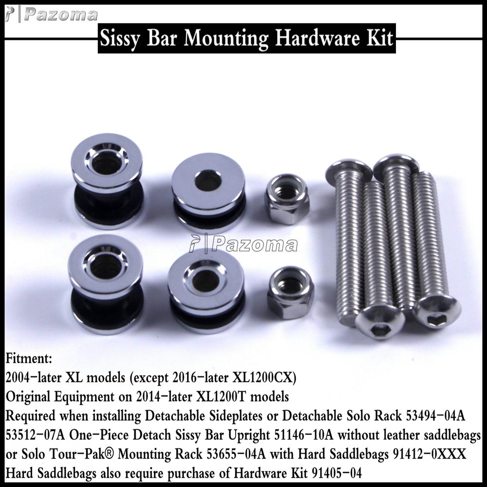 Docking Hardware Kit for Harley 883 1200 2004 Detachable Sissy Bar Solo Rack