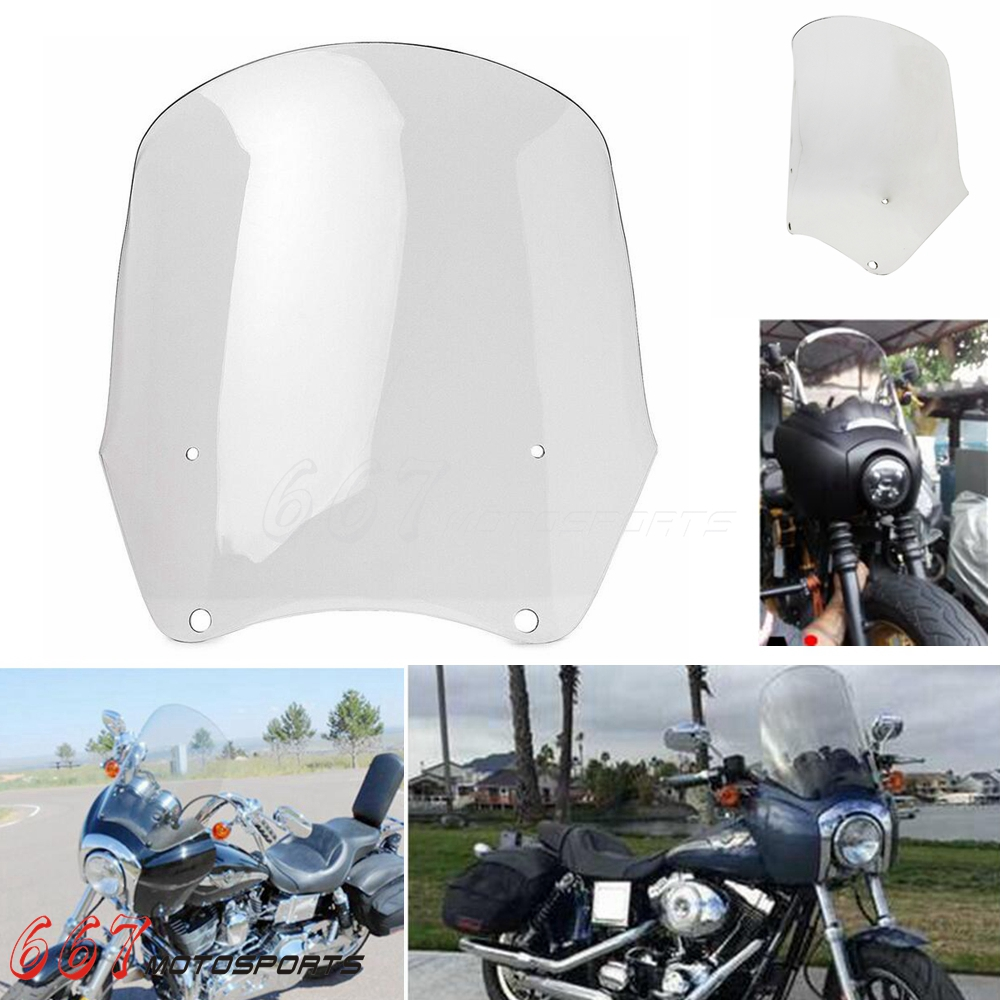 15/'/'  Windshield Clear Windscreen For Harley Dyna Fat Bob FXDF 2008-2017 2016