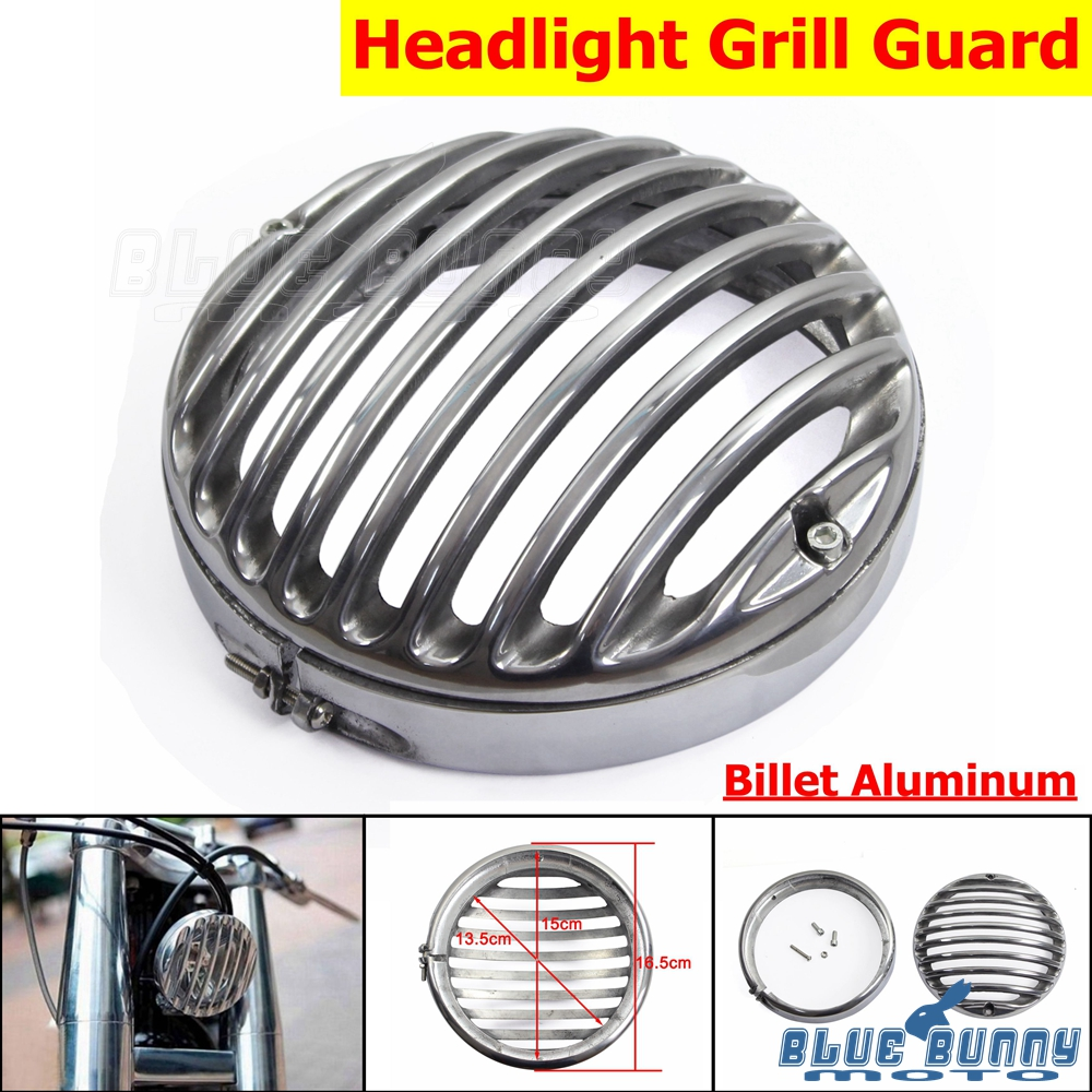 """5 3//4/"""" Round Chrome Metal Headlight Grill Cover For Harley 883 Sportster 1200"""