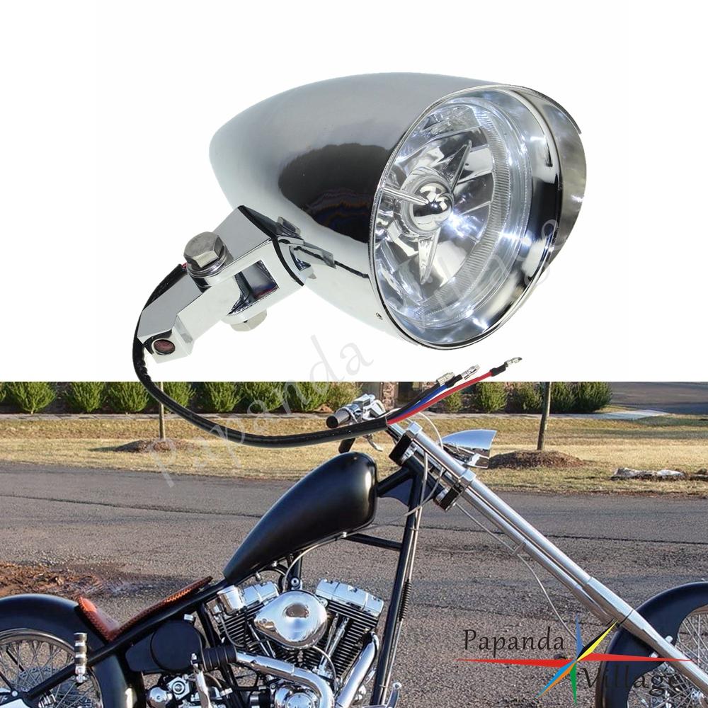 Motorcycle Visor Headlight Lamp For Harley Cafe Racer Bobber Custom Chopper New