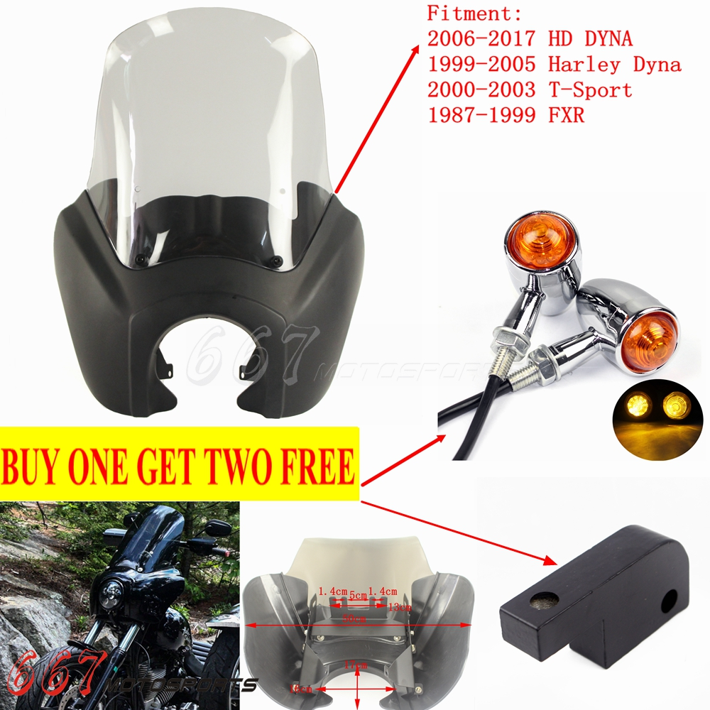 Front Headlight Fairing Adjustable 15 in Windshield Fit Harley Dyna FXD T-Sport