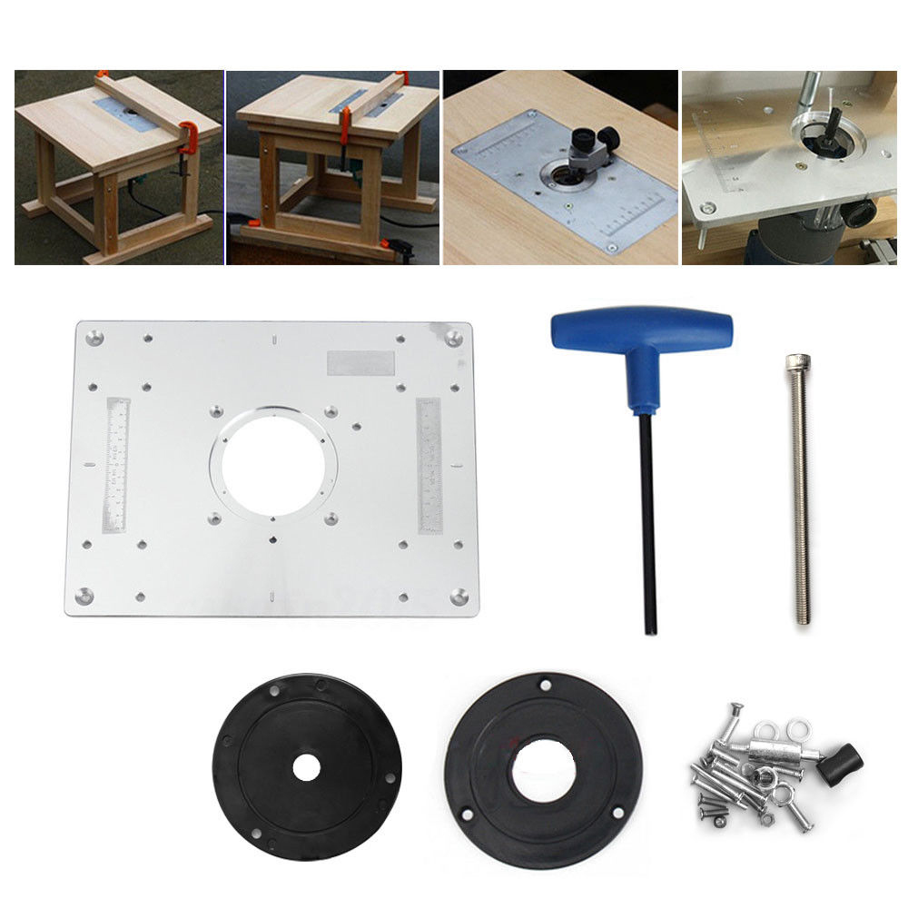Aluminum plunge router table insert plate w ring for diy aluminum plunge router table insert plate w ring for diy woodworking work bench greentooth Choice Image