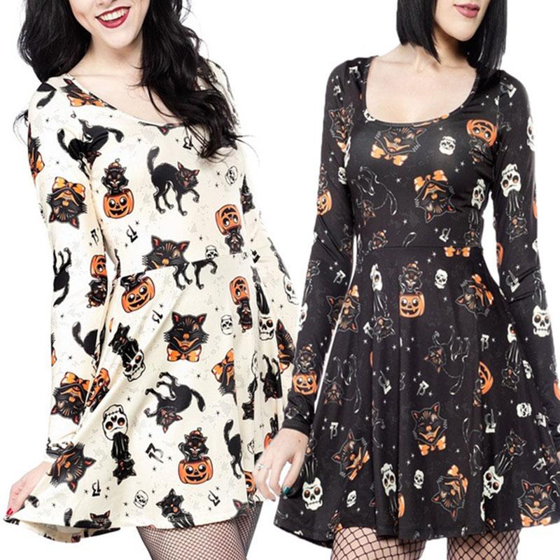 Women Halloween Long Sleeve Vampire Bite Skull Cat Swing Ladies Smock Mini Dress