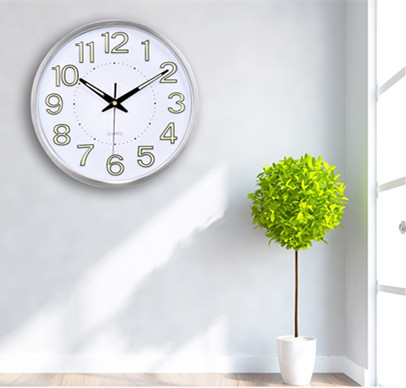 30cm Quartz Wall Clock Night Light Home Decor Round Number Time with Hook