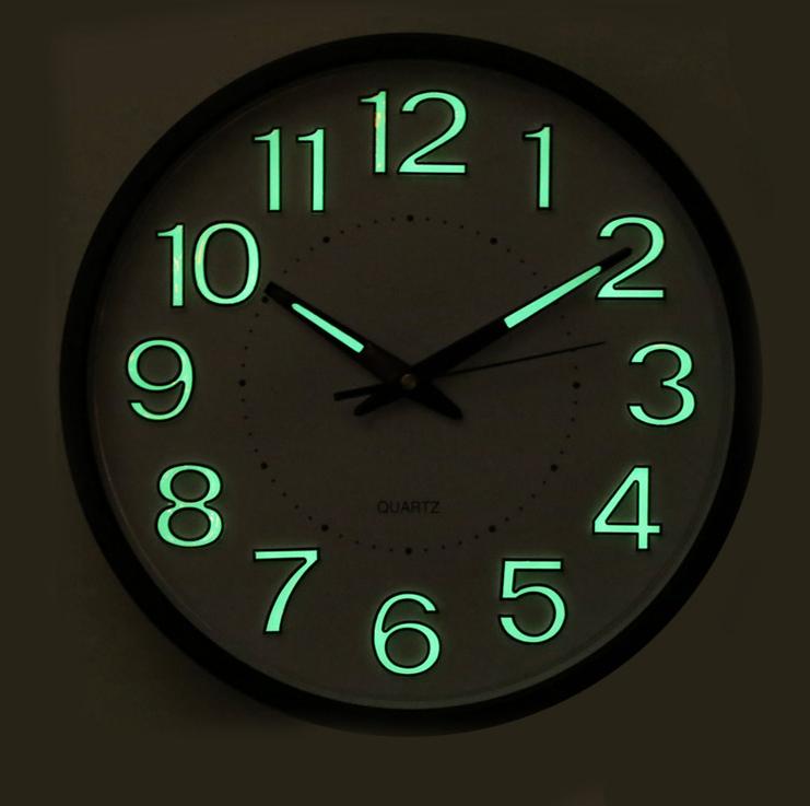 30cm Quartz Wall Clock Night Light Home Decor Round Number