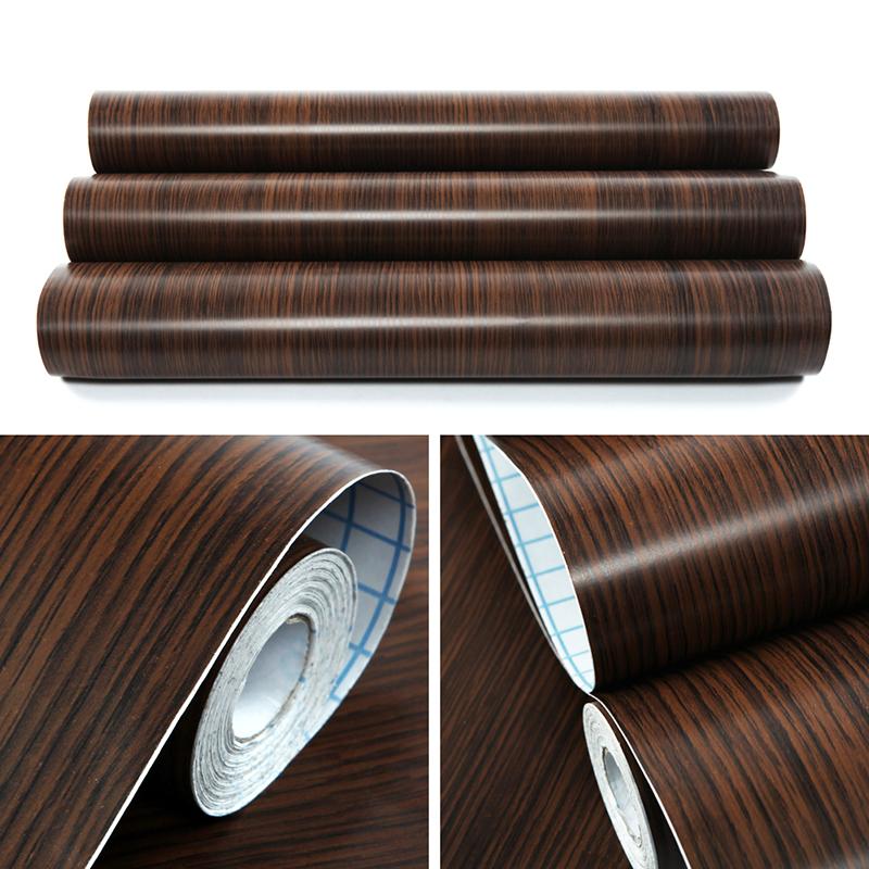 Self Adhesive Vinyl Roll Sticky Back Wood Grain Door Draw