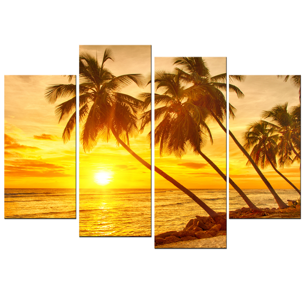 Landscape Canvas Print Coconut Tree Modern Gold Sunset Sea Wall Art ...