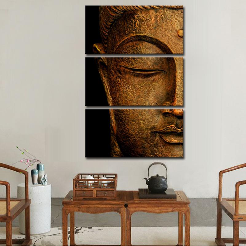 Retro Buddha Wall Art Bronze Buddha Head Canvas Print Giclee Home ...