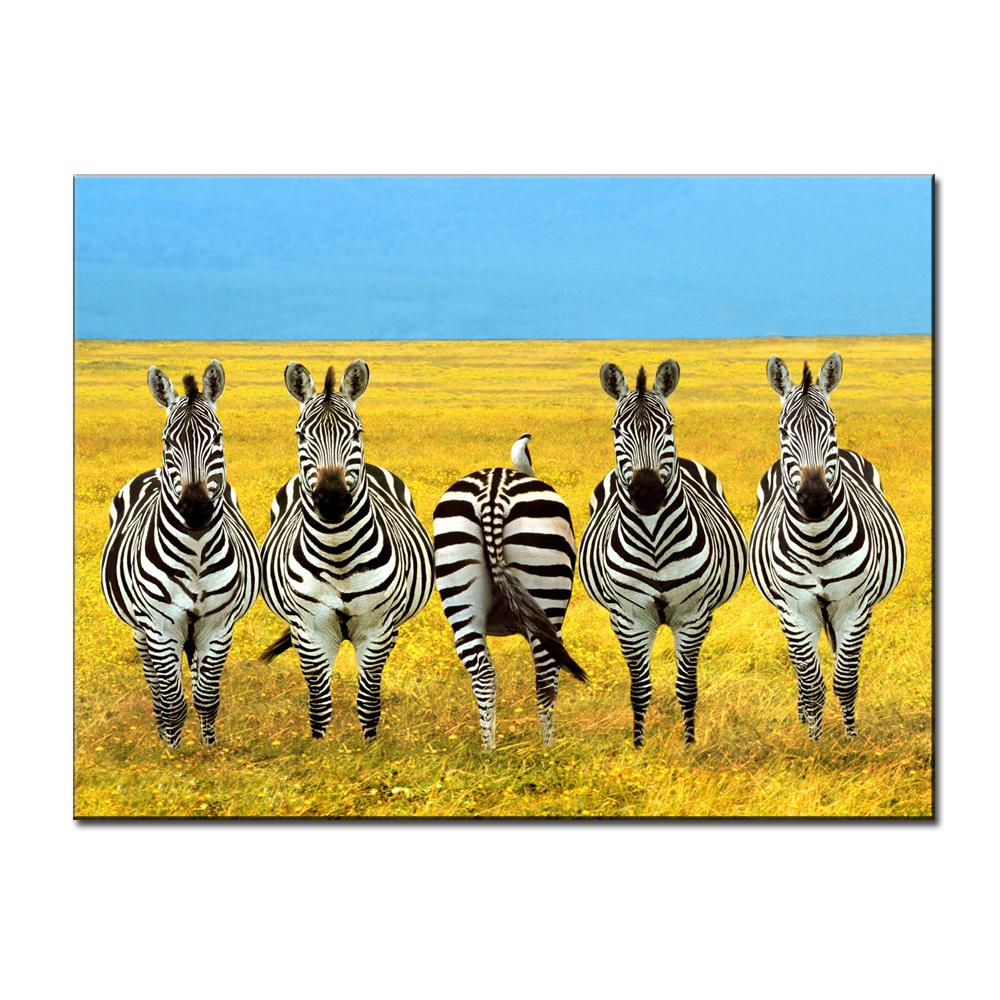 Zebras Canvas Print Animal Zebras Grassland Wall Art Giclee Unframed ...