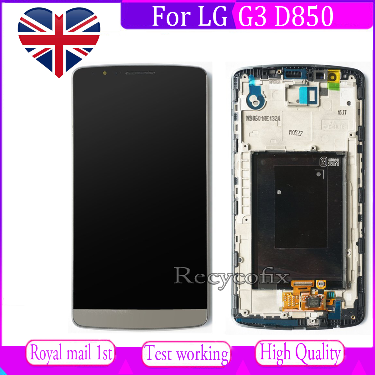 Details about For LG G3 D850 D855 Screen Replacement LCD Touch Digitizer  Display + Frame Grey