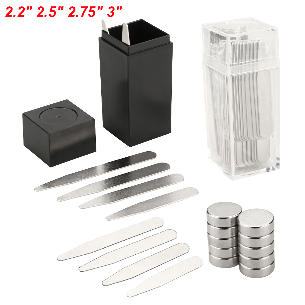 """2.2/"""" 2.5/"""" 2.75/"""" 3/"""" Metal Glossy Stainless Steel Collar Stays sets with Magnets"""