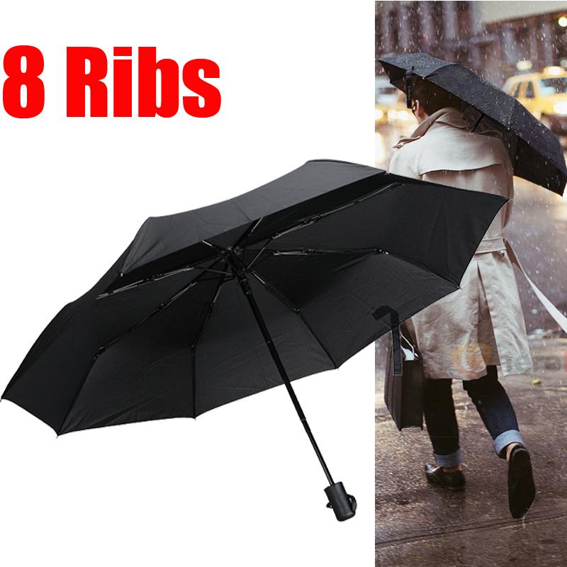 Automatic 8 Ribs Open//Close Compact Umbrella Folding Rain Sun Windproof