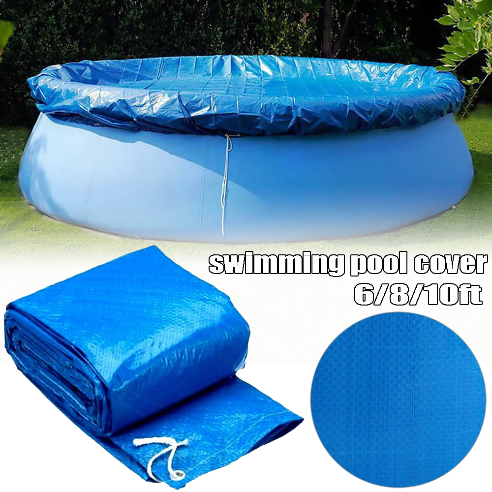 Details about Blue 6/8/10ft Round Swimming Paddling Pool Cover Inflatable  Easy Fast Set Rope