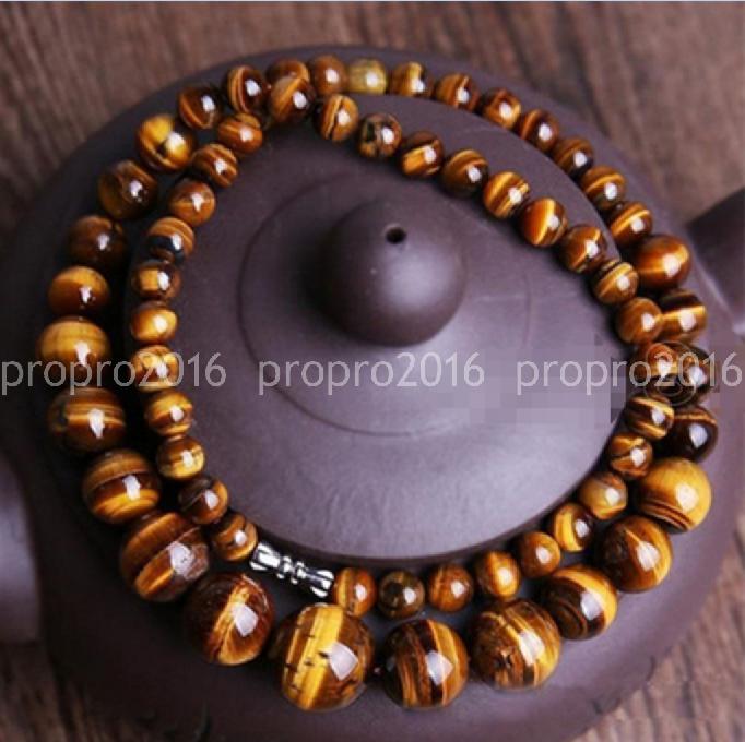 "Natural 6-14mm Genuine Yellow Tiger/'s Eye Gemstone Round Beads Necklace 18/"""