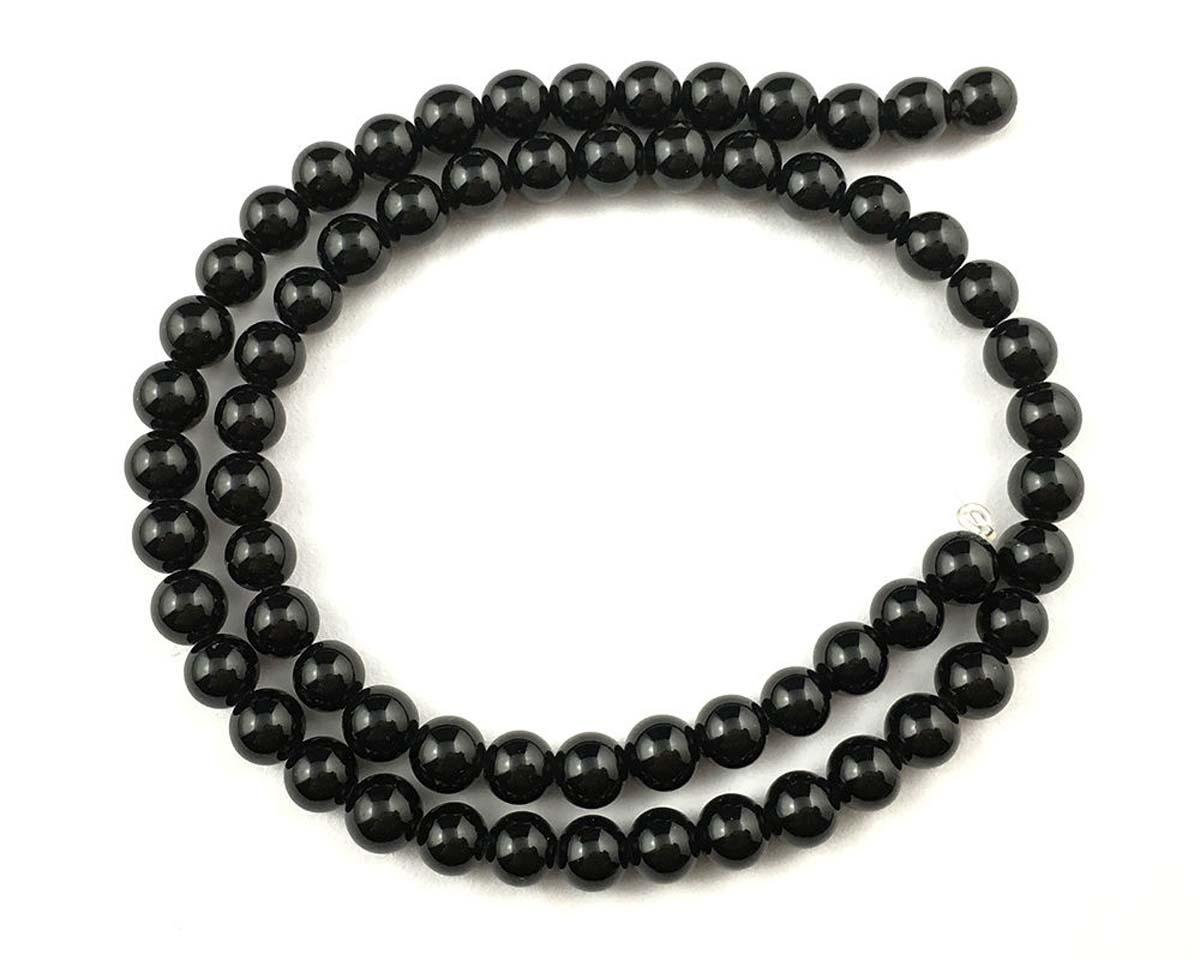 "4mm Black Onyx Round Beads 15/"" A+"