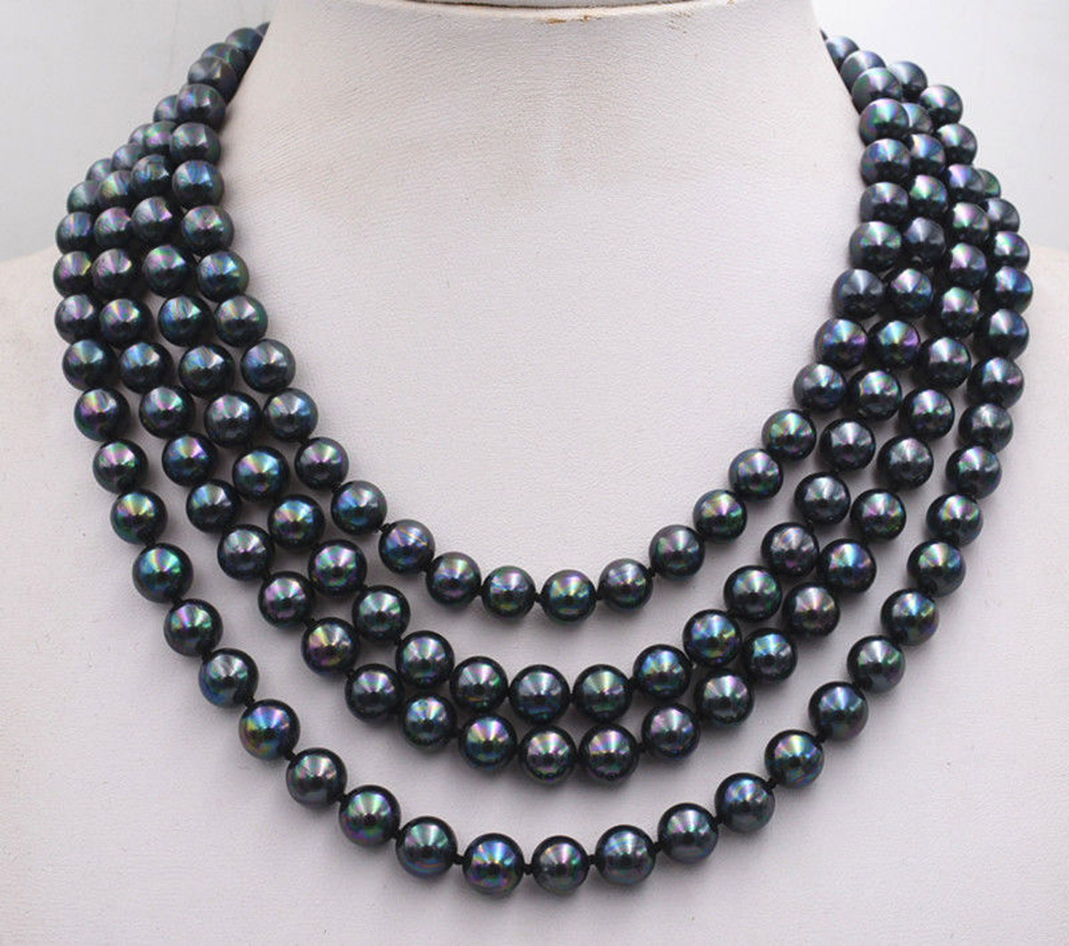 25/'/'8mm round black freshwater pearl necklace
